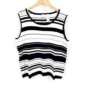 Emma James Woman Knit Stripe Career Tank Top 3X